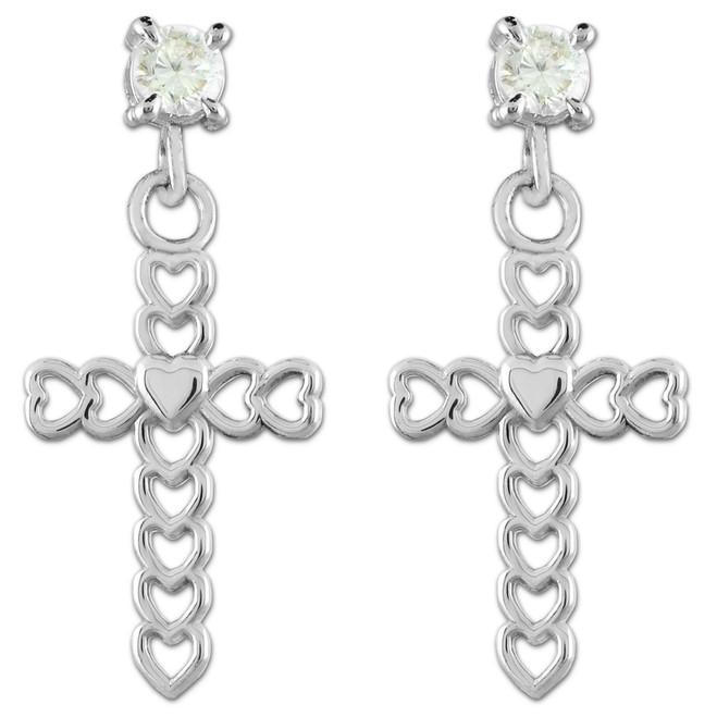 Sterling Silver Open Hearts Cross CZ Post Earrings