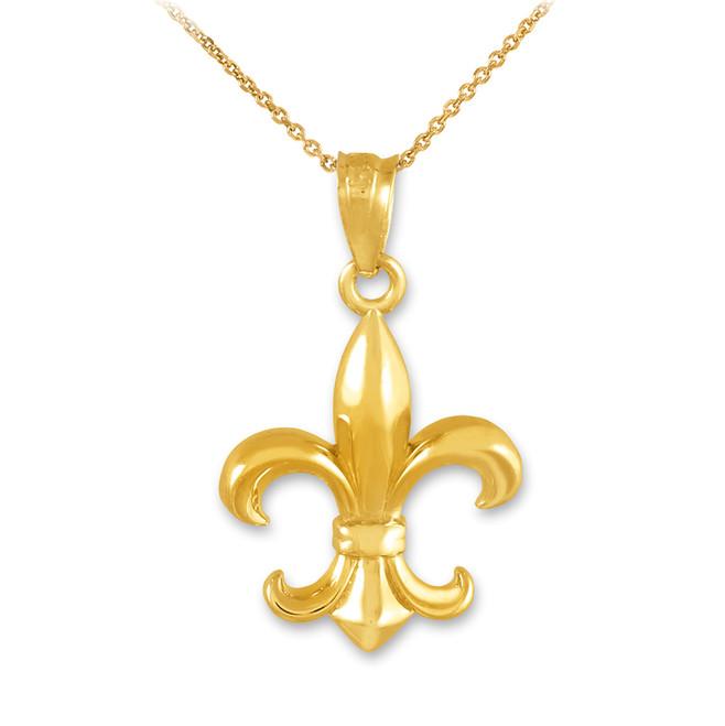 Gold Fleur-de-Lis Charm Pendant Necklace