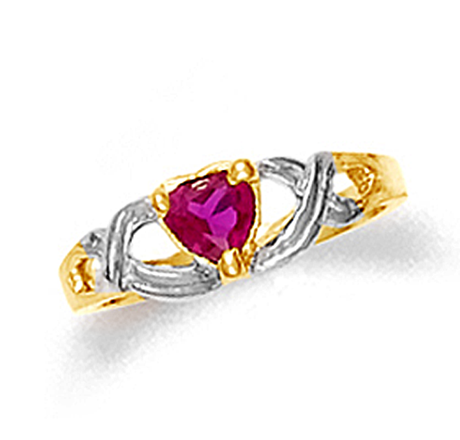 Gold Baby Heart Ruby Ring