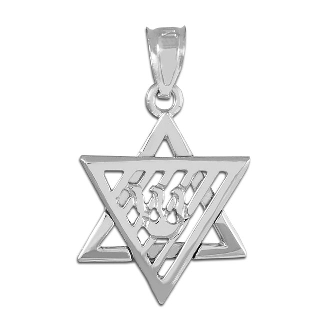 Silver Flaming  Star of David Charm Pendant