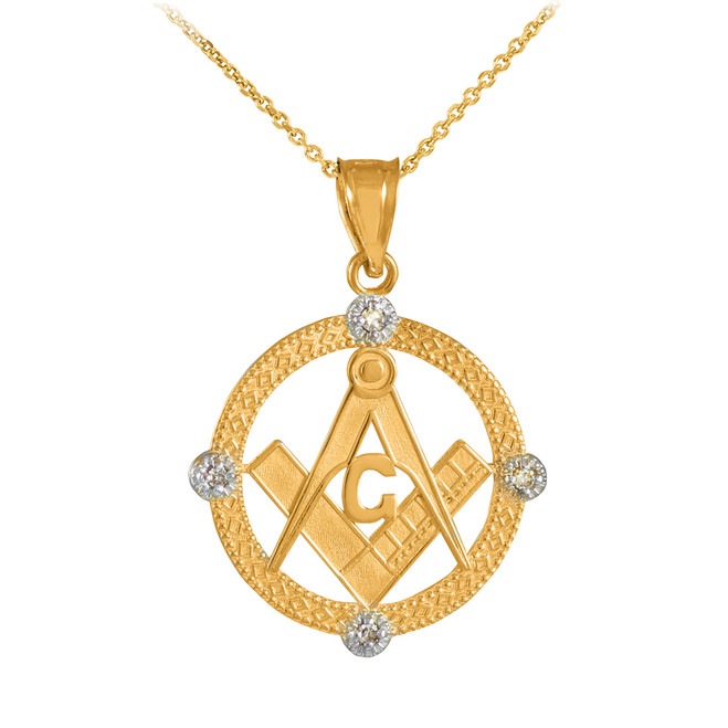 Yellow Gold Round Freemason Diamond Masonic Pendant Necklace