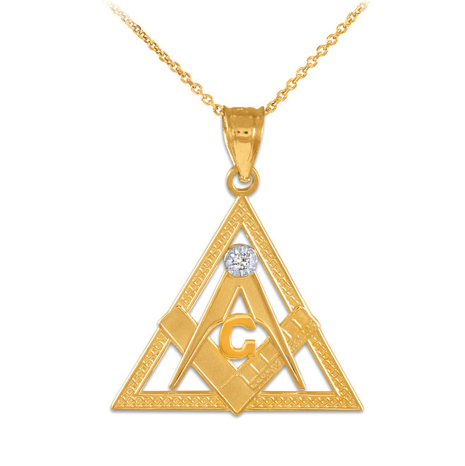 Yellow Gold Triangle Freemason Diamond Masonic Pendant Necklace