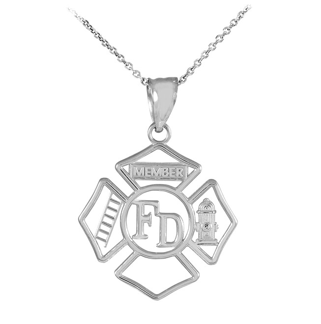 White Gold Fireman Open Badge Pendant Necklace