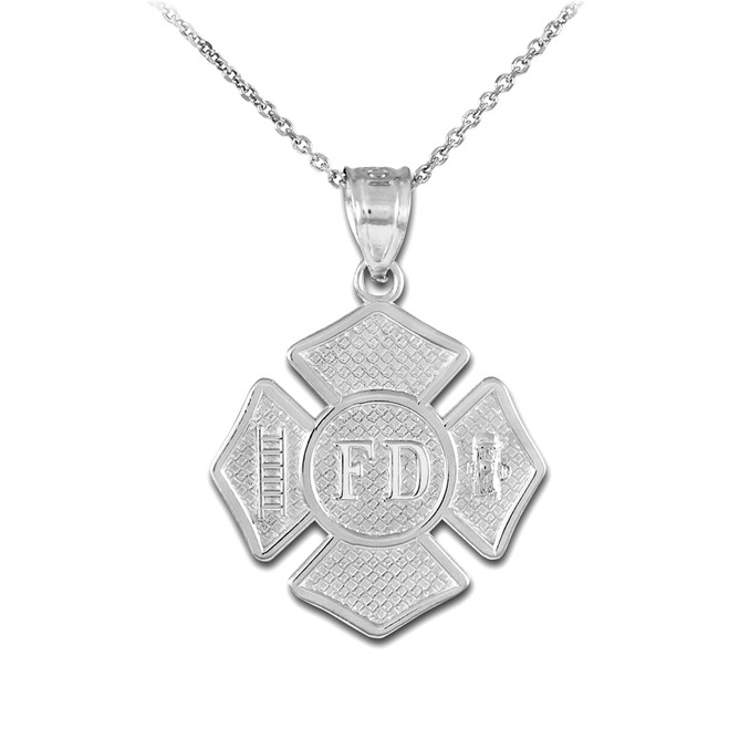 Sterling Silver Fire Department Solid Firefighter Badge Pendant Necklace