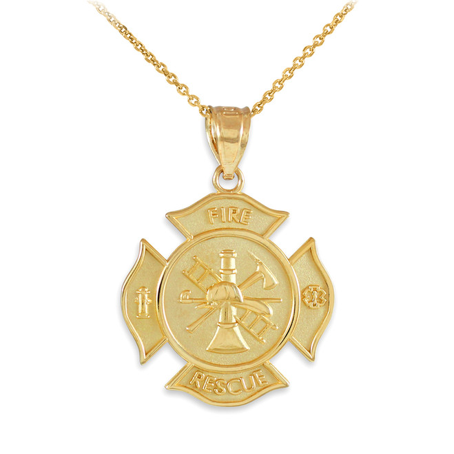 Gold Fire Rescue Firefighter Solid Badge Pendant Necklace