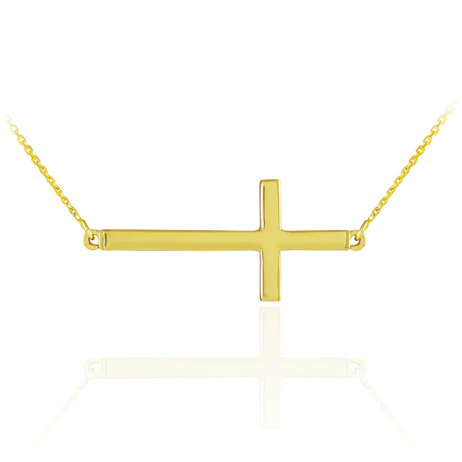 14K Solid Gold Sideways Cross Necklace