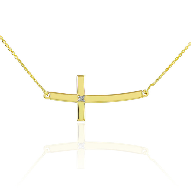 14K Gold Sideways Curved Diamond Cross Necklace