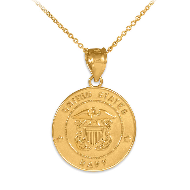 US Navy Solid Gold Coin Pendant Necklace