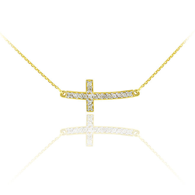 14K Gold Sideways Diamond Cute Curved Cross Necklace