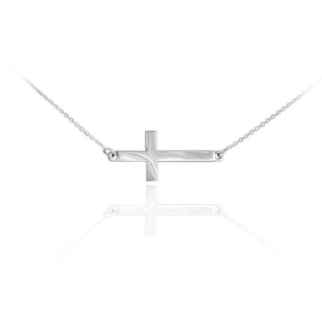 14K Solid White Gold Sideways Cross Cute Necklace