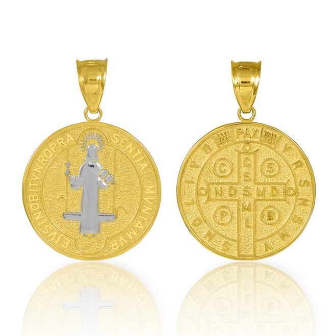 Solid Gold St. Benedict Coin Charm Pendant