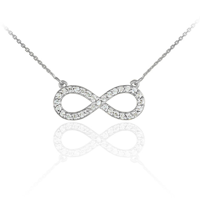 14K White Gold Clear CZ Infinity Pendant Necklace