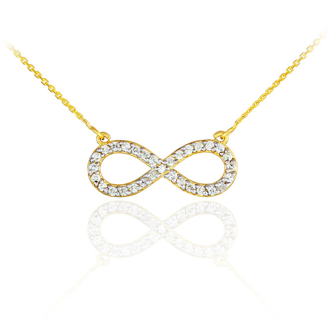 14K Gold Infinity Clear CZ Pendant Necklace