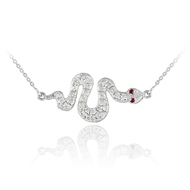 Sterling Silver Snake Sideways CZ Pendant Necklace