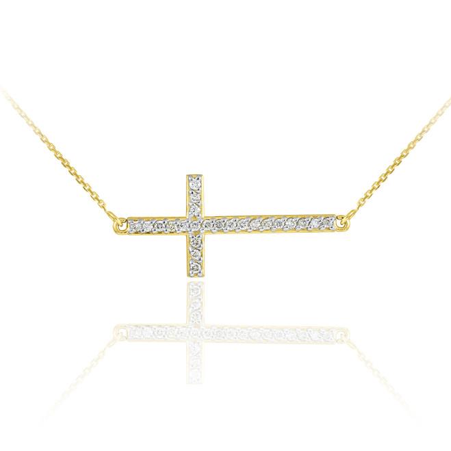 14K Gold Sideways Cross CZ Pendant Necklace