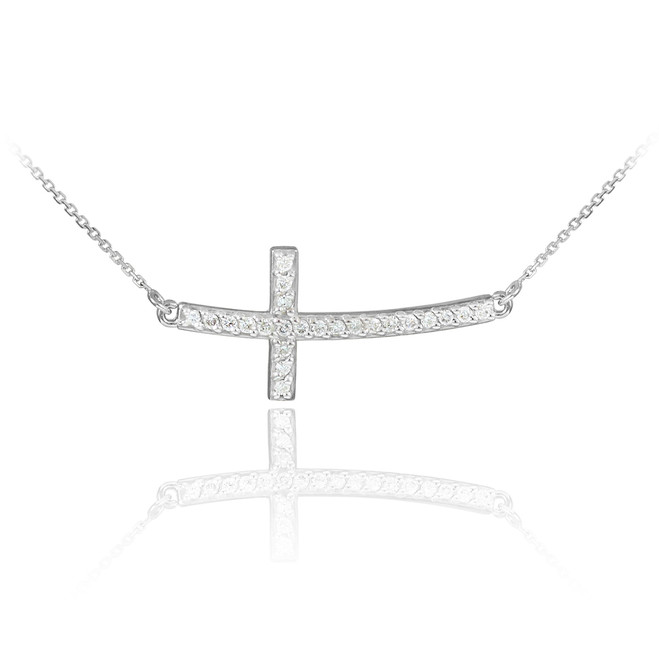 Sterling Silver Sideways Curved Cross CZ Pendant Necklace