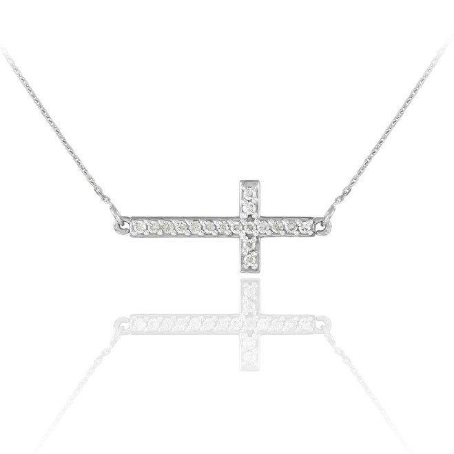 Sterling Silver Sideways Cross Cute CZ Necklace