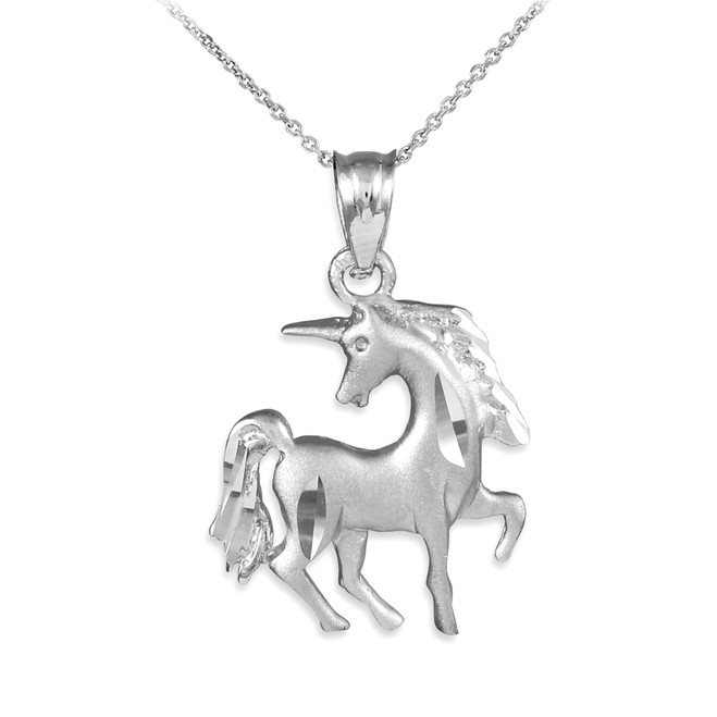 Satin Finish Diamond Cut White Gold Unicorn Charm Pendant Necklace