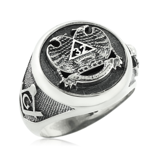 Vintage Oxidized Silver Scottish Rite Masonic Ring