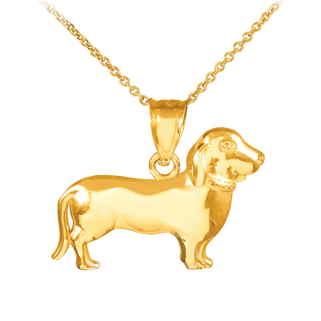 Polished Gold Weiner Dog Dachshund Puppy Charm Pendant Necklace
