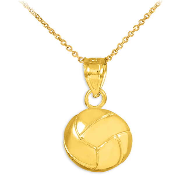 Gold Volleyball Charm Sports Pendant Necklace