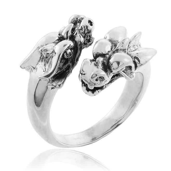 Sterling Silver Dragon Head Ring