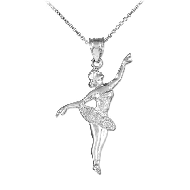 Ballet Dancer Sterling Silver Charm Pendant Necklace