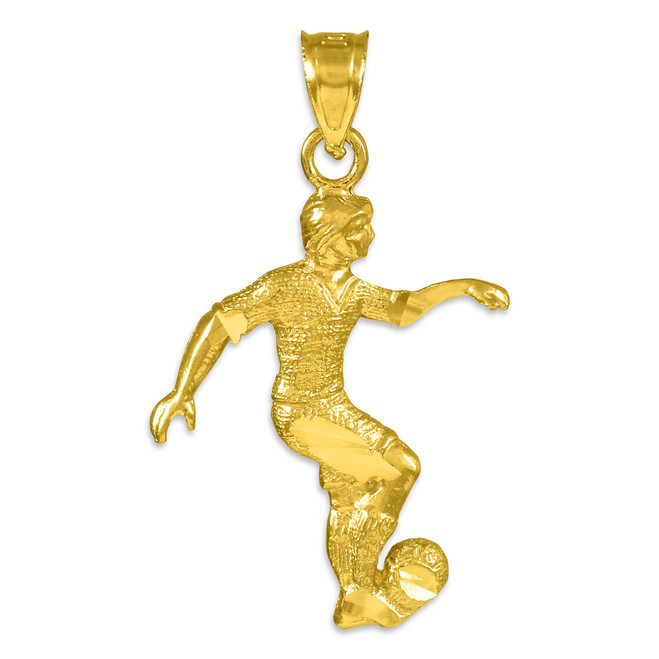 Gold Soccer Player Charm Sports Pendant Necklace