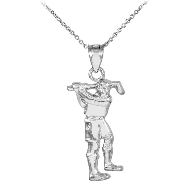 Golfer Silver Charm Sports Pendant Necklace