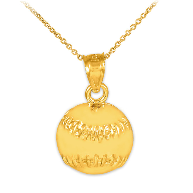 Gold Baseball/Softball Charm Sports Pendant Necklace