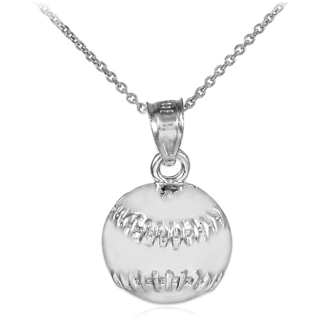 White Gold Baseball/Softball Charm Sports Pendant Necklace