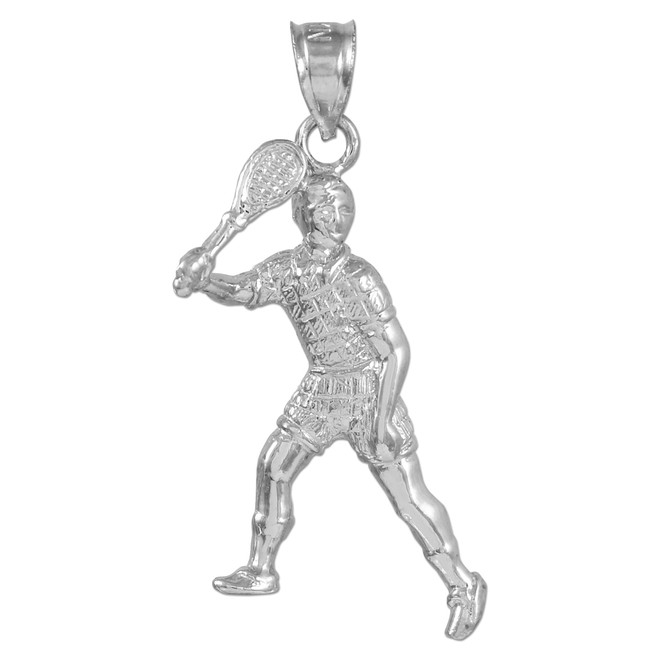 Tennis Player White Gold Charm Pendant
