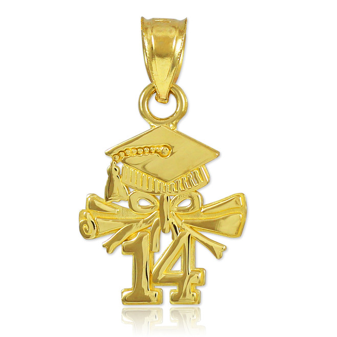 Gold 2014 Graduation Charm Pendant