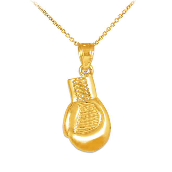 Gold Boxing Glove Charm Sports Pendant Necklace