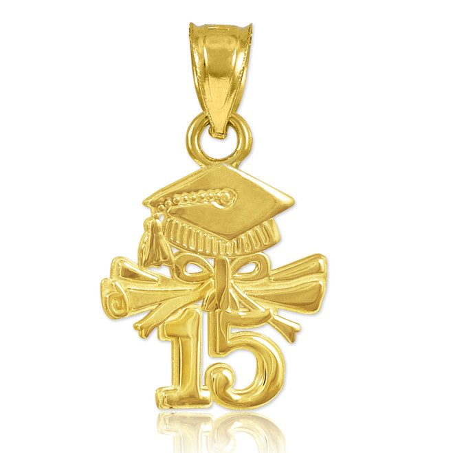 Polished Gold 2015 Graduation Charm Pendant