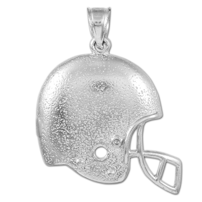 Football Helmet White Gold Sports Pendant