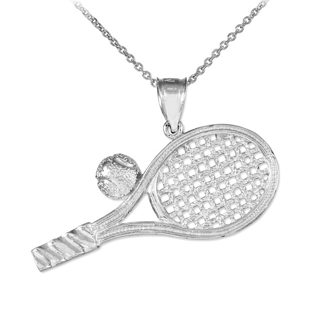 Silver Tennis Racquet and Ball Pendant Necklace