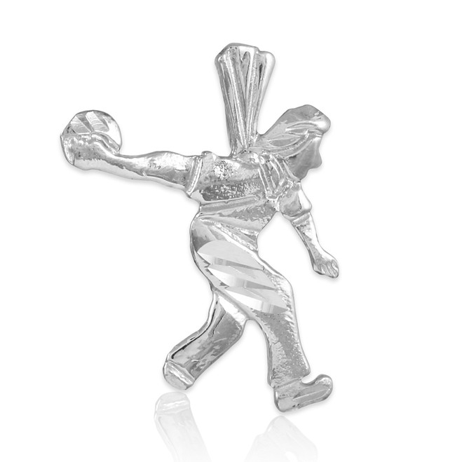 White Gold Bowler Charm Sports Pendant