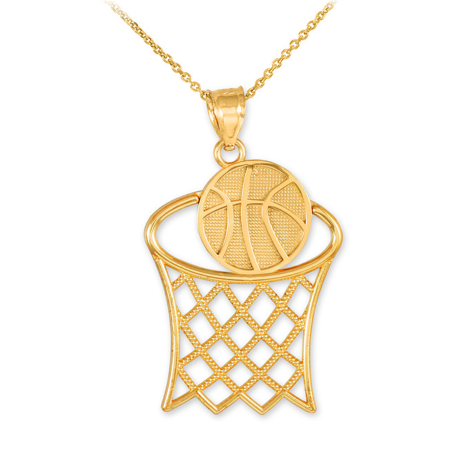 Basketball Hoop Gold Sports Pendant Necklace