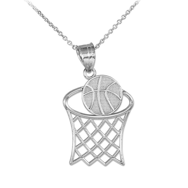 White Gold Basketball Hoop Charm Pendant Necklace
