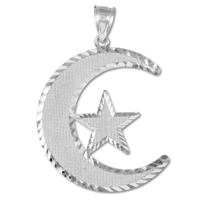 Islamic collection gold islamic collection yellow gold islamic islamic crescent white gold pendant aloadofball Images