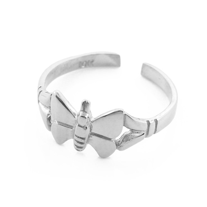 Butterfly White Gold Toe Ring