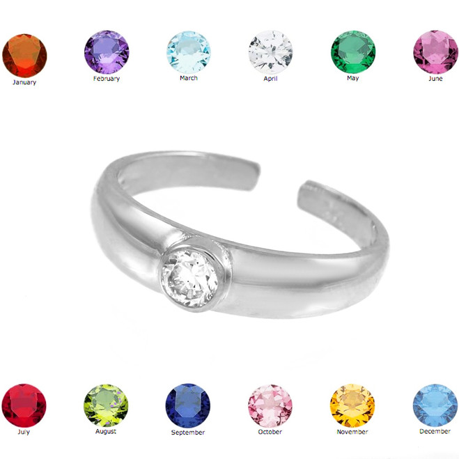 Solid White Gold Birthstone CZ Toe Ring