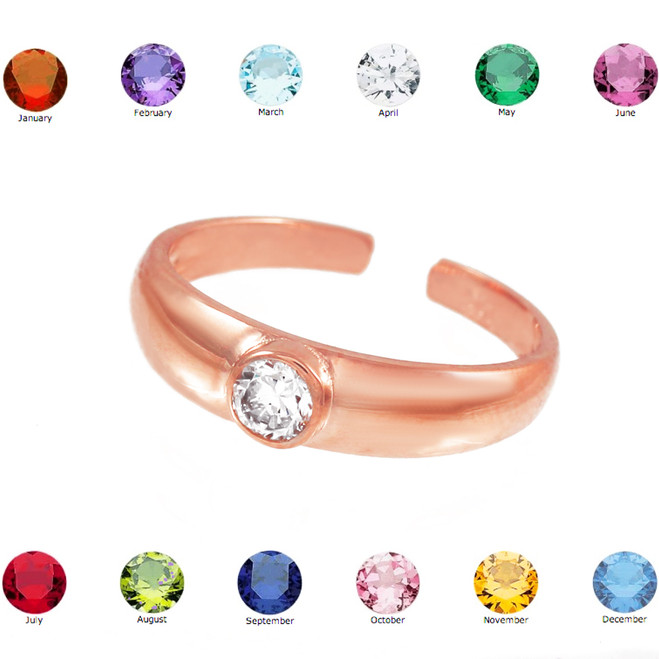 Solid Rose Gold Birthstone CZ Toe Ring
