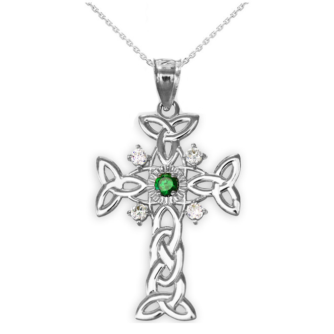 Silver Celtic Knot Trinity Cross Diamond Pendant Necklace with Genuine Emerald