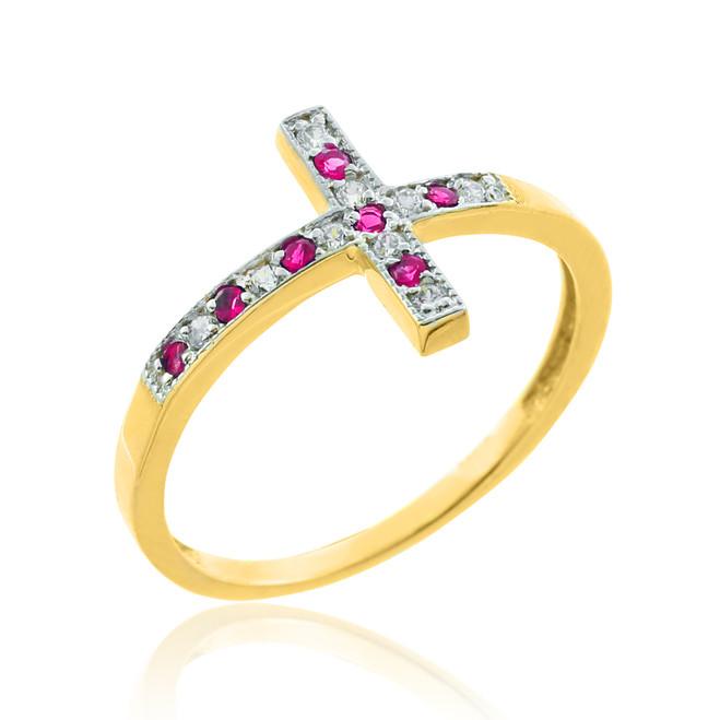 Gold Diamond Sideways Cross Ring with Rubies