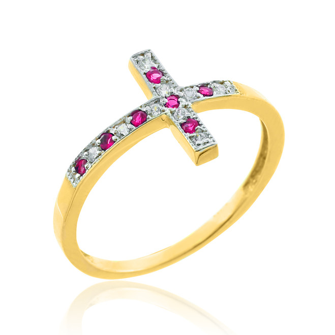 Gold Sideways Cross Red Zirconia Ring