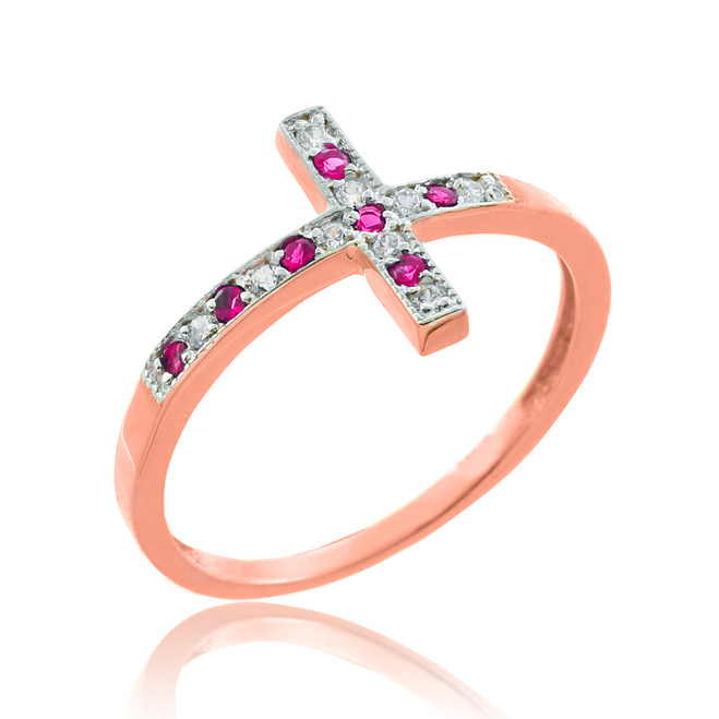 Rose Gold Sideways Cross Red Zirconia Ring