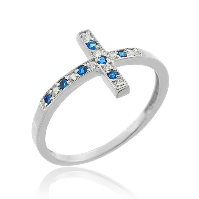 Silver Sideways Cross CZ Ring with Blue Zirconia