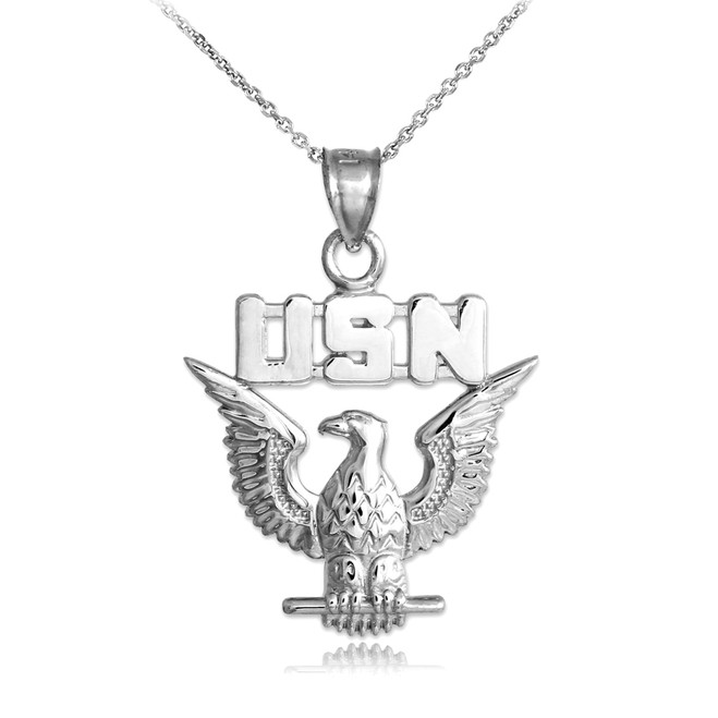 White Gold US Navy Pendant Necklace
